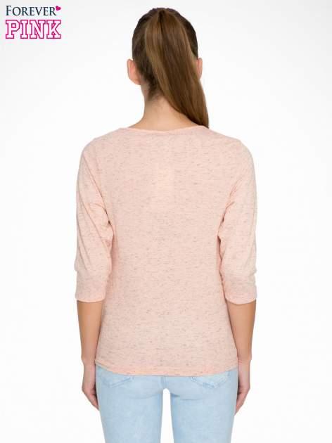 Jasnoróżowa melanżowa bluzka z rękawami 3/4                                  zdj.                                  4