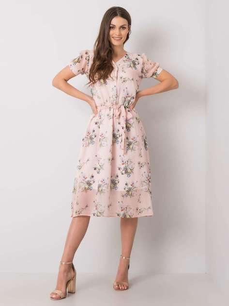 Jasnoróżowa sukienka w kwiaty Piacenza