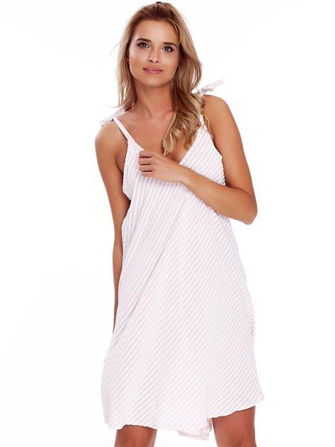 Jasnoróżowa sukienka w paski wiązana na ramionach                              zdj.                              4