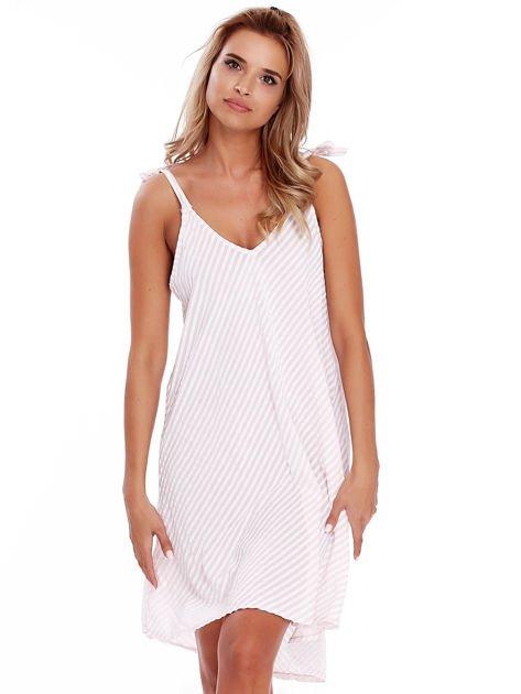 Jasnoróżowa sukienka w paski wiązana na ramionach                              zdj.                              1