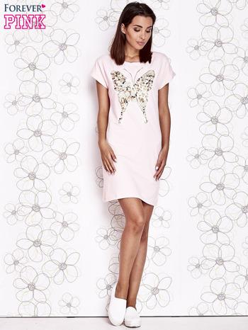 Jasnoróżowa sukienka z cekinowym motylem                                  zdj.                                  2
