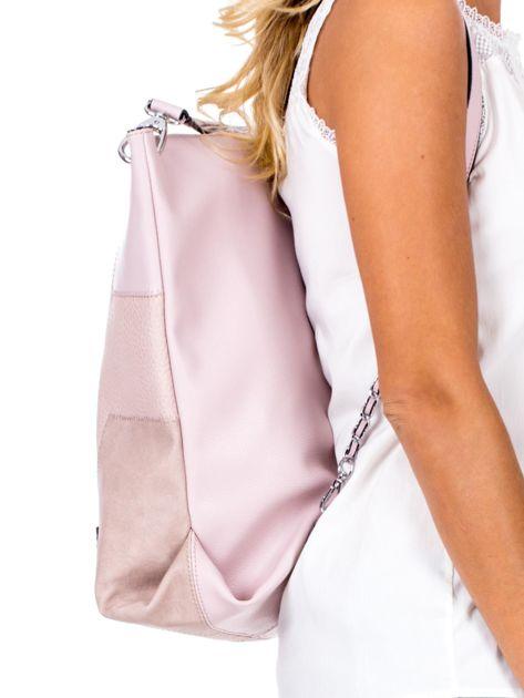 Jasnoróżowa torba-plecak z odpinanymi szelkami                              zdj.                              3
