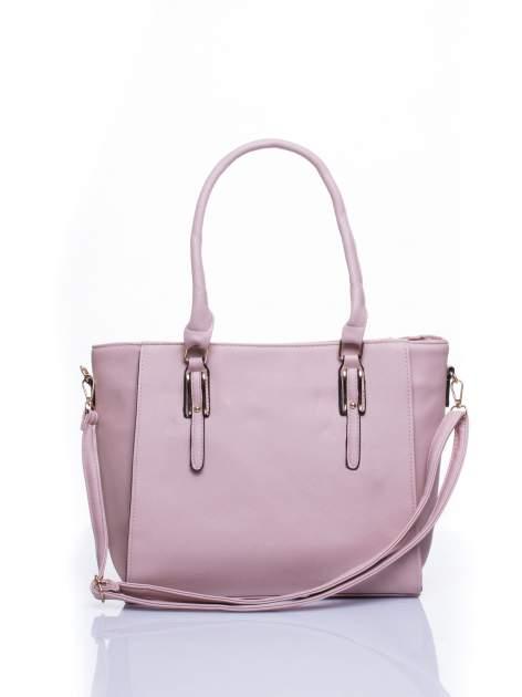 Jasnoróżowa torba shopper bag z odpinanym paskiem                                  zdj.                                  1