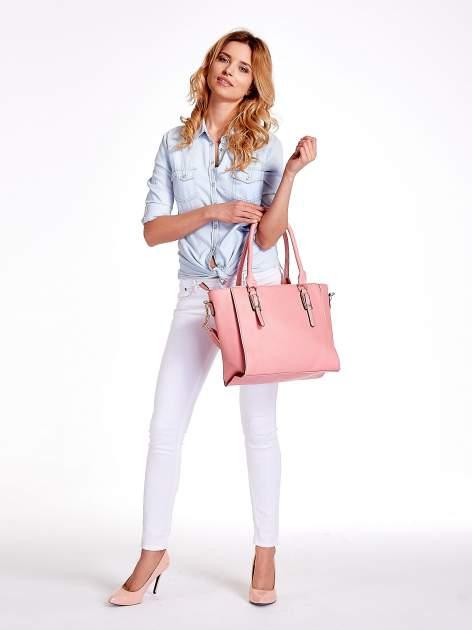 Jasnoróżowa torba shopper bag z odpinanym paskiem                                  zdj.                                  2