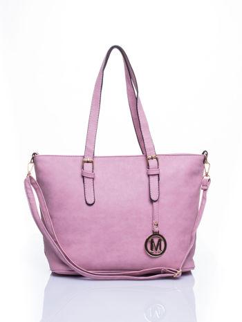 Jasnoróżowa torba shopper bag z zawieszką                                  zdj.                                  1