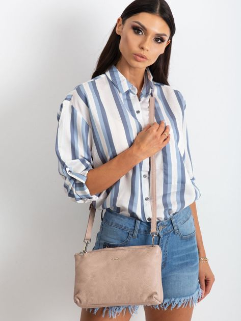 Jasnoróżowa torebka damska ze skóry naturalnej