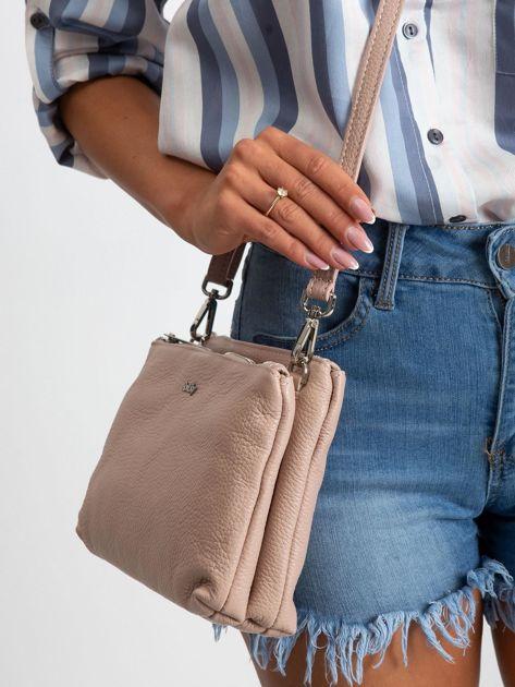 Jasnoróżowa torebka damska ze skóry naturalnej                              zdj.                              3