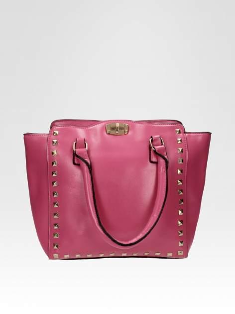 Jasnoróżowa torebka na ramię z dżetami                                  zdj.                                  1