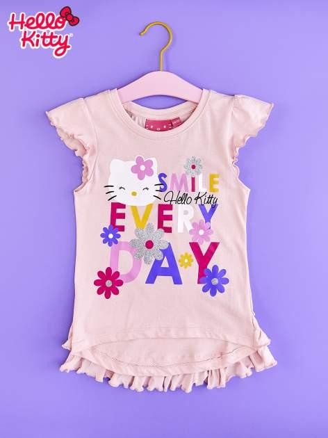 Jasnoróżowa tunika dla dziewczynki z falbankami HELLO KITTY                                   zdj.                                  1