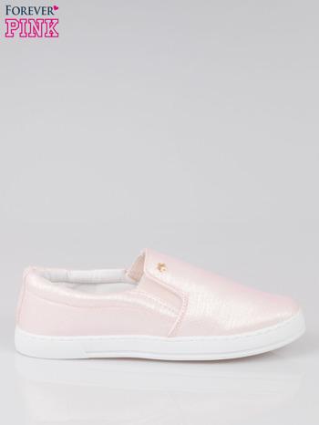 Jasnoróżowe buty sliponki glitter                                  zdj.                                  1