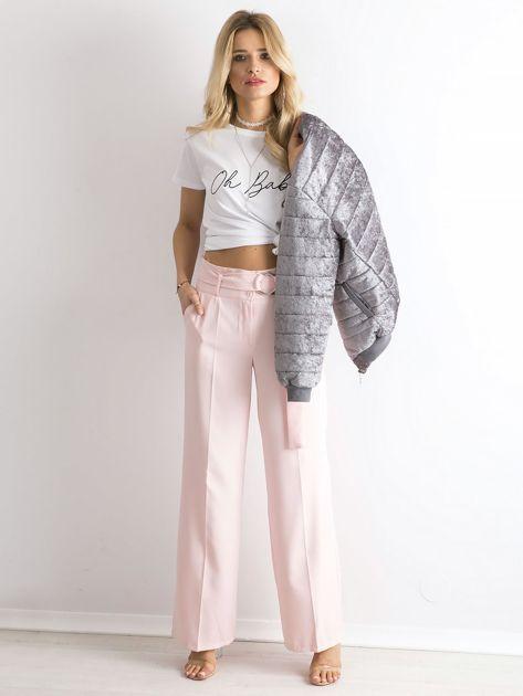 Jasnoróżowe spodnie z wysokim stanem                              zdj.                              4