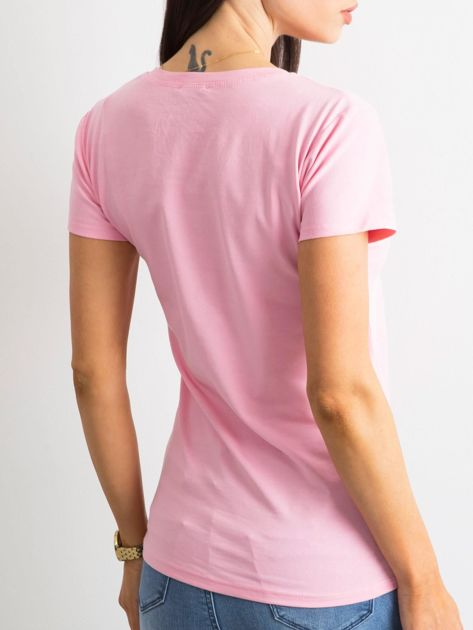Jasnoróżowy damski t-shirt z bawełny                               zdj.                              2
