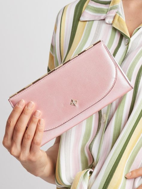 Jasnoróżowy elegancki portfel