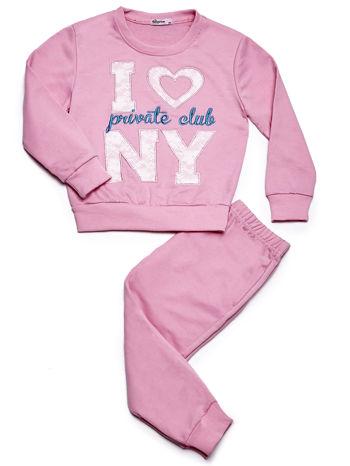 Jasnoróżowy komplet dla dziewczynki bluza i spodnie dresowe                              zdj.                              1