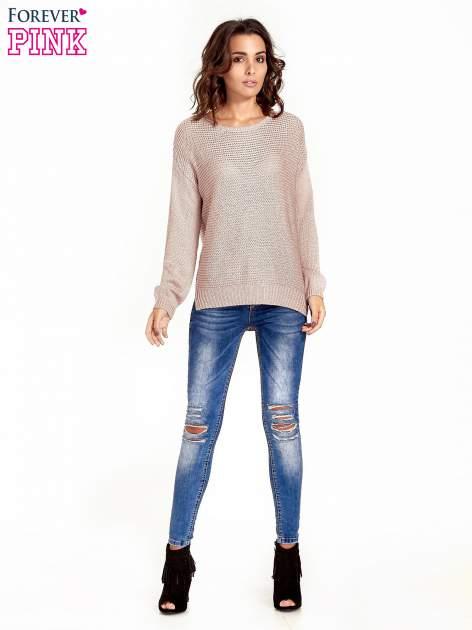 Jasnoróżowy sweter o większych oczkach                                  zdj.                                  8