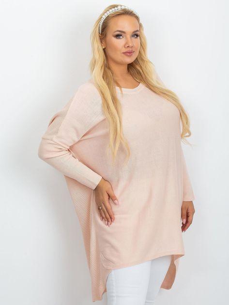 Jasnoróżowy sweter plus size Ester                              zdj.                              3