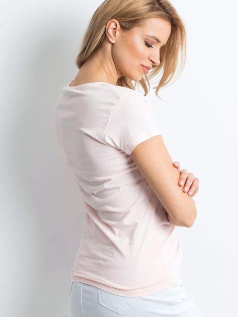 Jasnoróżowy t-shirt Invariably                              zdj.                              2