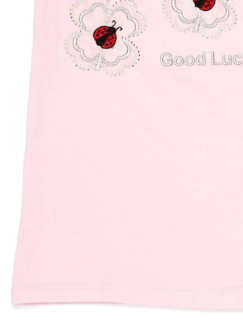 Jasnoróżowy t-shirt dla dziewczynki z biedronkami                              zdj.                              4