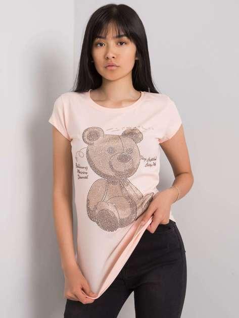 Jasnoróżowy t-shirt z aplikacją Misha