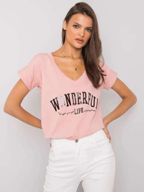 Jasnoróżowy t-shirt z napisem Leila