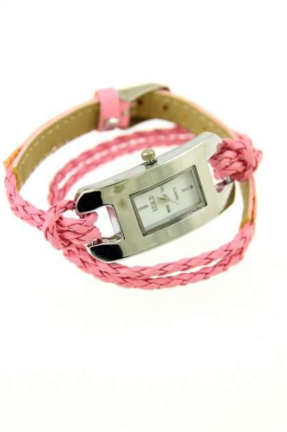 Jasnoróżowy zegarek damski na długim plecionym pasku