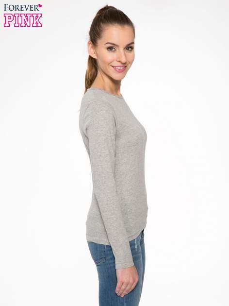 Jasnoszara bawełniana bluzka typu basic z długim rękawem                                  zdj.                                  3