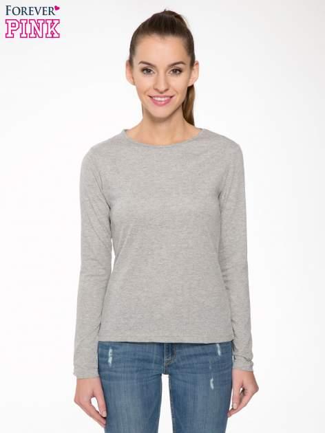 Jasnoszara bawełniana bluzka typu basic z długim rękawem                                  zdj.                                  1