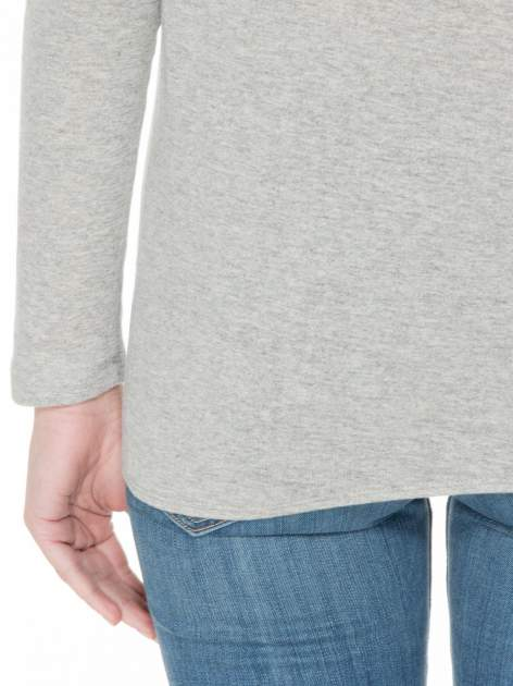 Jasnoszara bawełniana bluzka z gumką na dole                                  zdj.                                  6