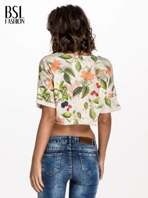 Jasnoszara bluza cropped z nadrukiem numerycznym