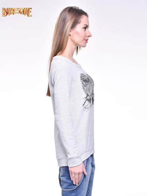 Jasnoszara bluza damska z sówkami                                  zdj.                                  3