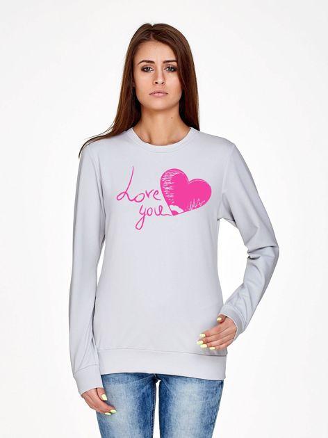 Jasnoszara bluza z napisem LOVE YOU