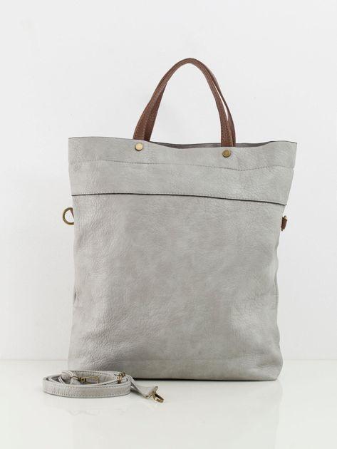 Jasnoszara duża torba z ekoskóry