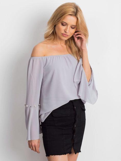 Jasnoszara elegancka bluzka hiszpanka z perełkami                              zdj.                              3