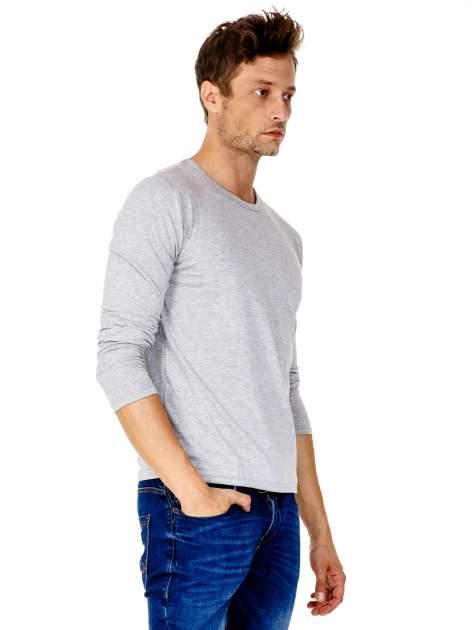 Jasnoszara gładka koszulka męska longsleeve                                  zdj.                                  4