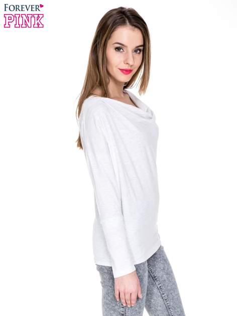 Jasnoszara melanżowa bawełniana bluzka z dekoltem typu woda                                  zdj.                                  3