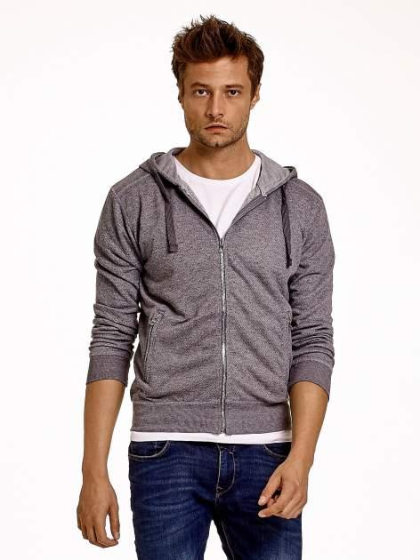 Jasnoszara melanżowa bluza męska z zasuwanymi kieszeniami                                  zdj.                                  2