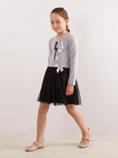 Jasnoszara sukienka dla dziewczynki