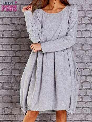 Jasnoszara sukienka oversize ze ściągaczem na dole                                  zdj.                                  1
