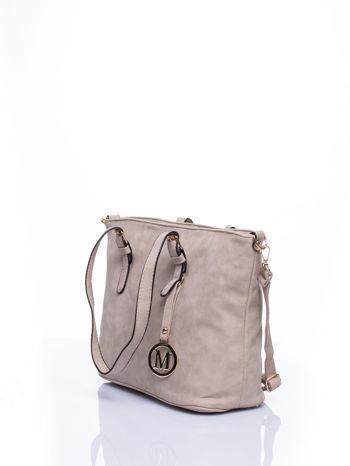 Jasnoszara torba shopper bag z zawieszką                                  zdj.                                  3