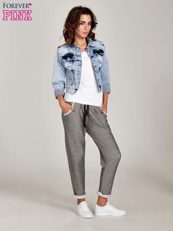 Jasnoszare melanżowe spodnie dresowe w stylu casual                                  zdj.                                  2