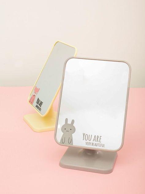 Jasnoszare składane lusterko kosmetyczne z napisem                              zdj.                              1