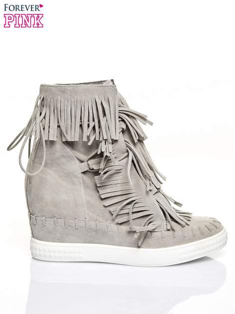 Jasnoszare sneakersy damskie z frędzlami