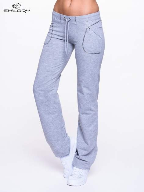 Jasnoszare spodnie dresowe z siateczką