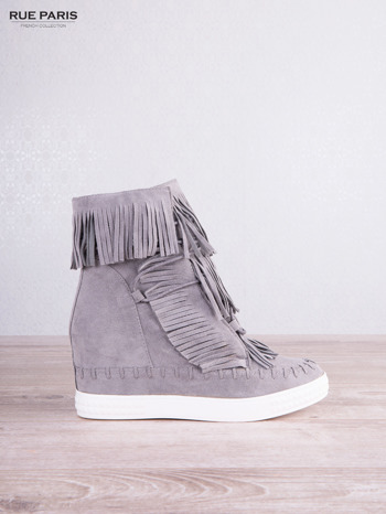 Jasnoszare zamszowe sneakersy Aravia z frędzelkami na koturnach                                  zdj.                                  2