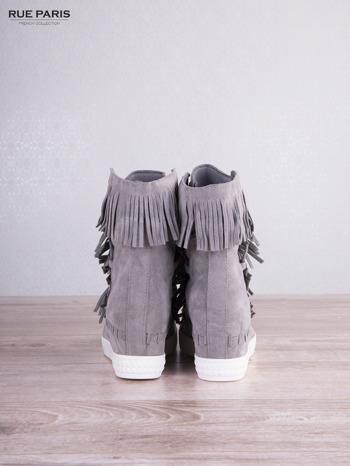 Jasnoszare zamszowe sneakersy Aravia z frędzelkami na koturnach                                  zdj.                                  4