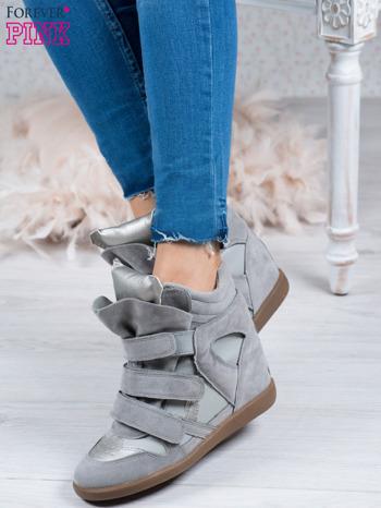 Jasnoszare zamszowe sneakersy na rzepy z wstawkami