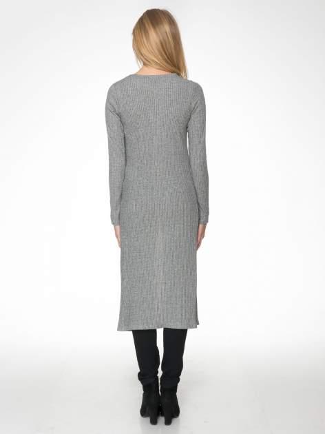 Jasnoszary długi prążkowany sweter kardigan                                  zdj.                                  4