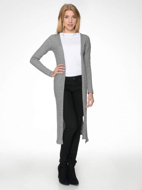 Jasnoszary długi prążkowany sweter kardigan                                  zdj.                                  1