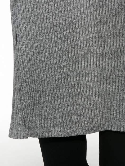 Jasnoszary długi prążkowany sweter kardigan                                  zdj.                                  8