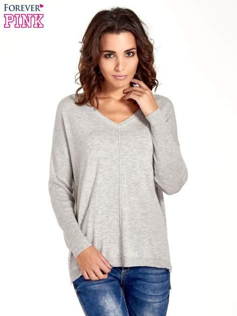 Jasnoszary sweter V-neck z rozporkami                                  zdj.                                  1